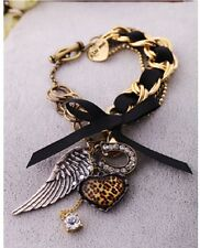 B150 Betsey Johnson Flying Angel Wings Hug with Leopard Heart Bracelet US
