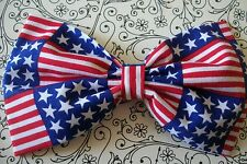 "HANDMADE 5"" USA STARS STRIPE AMERICAN FLAG PRINT COTTON FABRIC BOW HAIR CLIP"