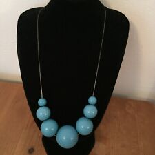 Retro 50s Style Blue Chunky Graduated Beads Collar Necklace Costume Jewellery