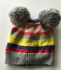 Baby Gap Rainbow Knitted Pompom Beanie Hat Fleece Lined S/M 51cm