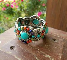 Cowgirl Gypsy Bling aztec Western stretch Bracelet turquoise Southwest