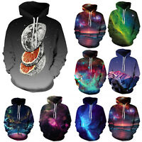 Men Women Galaxy 3D Hoodie Gym Hooded Sweater Couple Casual Pullover Coat Tops