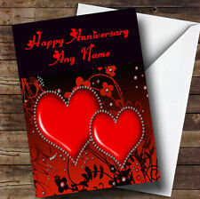 Red Diamond Heart Personalised Anniversary Greetings Card