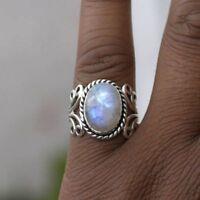 Tibetan Women Natural Gemstone Rainbow Moonstone Ring Oval Sterling Silver
