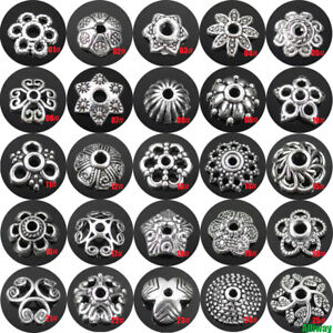 Tibetan Silver Metal Loose Spacer Beads Caps 6mm - 15mm Lots Flower Patterns