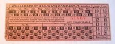 Vintage  Williamsport Railways Co. Streetcar & Trolley Transfer