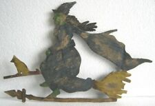 OLD IRON WITCH ON BROOM WEATHER VANE , WEATHERVANE .
