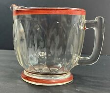 Clear Glass Red Rimmed Creamer with Light Wheat Pattern Vintage