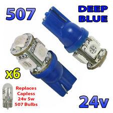 6 x Blue 24v Capless Side Light 507 501 W5W 5 SMD T10 Wedge Bulbs HGV Truck