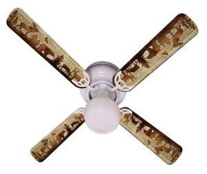 """New BEAR MOOSE DEER RUSTIC CABIN LODGE Ceiling Fan 42"""""""