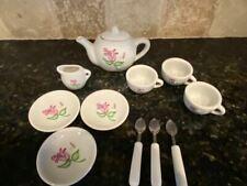Child's Ceramic Tea Set, Pink Floral Design