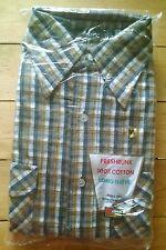New Vintage 70s KMart Men's Tan Flannel Shirt Medium Preshrunk 100% Cotton