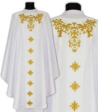 White Gothic Chasuble with stole GY650-B25 Vestment Casulla Blanca Weiss Kasel