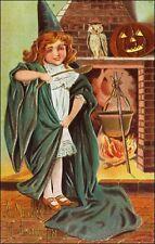B Sanders Halloween: Girl in Witch Costume, Jack-O-Lantern. Pre-1910, Embossed.