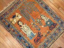 Antique Kurdish Pictorial Love Story Rug Size 2'6''x3'1'
