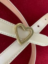 RARE~1980's VINTAGE~Authentic MOSCHINO Redwall ITALY Heart LEATHER BELT~White/40