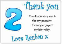 tc 10 Personalised Thank you CARDS & envelopes, thanks birthday age party boys 2