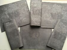 French Linen Damask Napkins Monogramesd S/6 Large Dinner Size Steel Gray Color