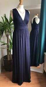 The White Company London Stunning Navy Blue V Neck Maxi Dress Size M Vgc