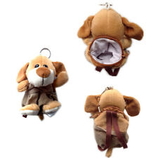 """Plush Keychain Keyring Zippered Coin Pouch Bag Dog Puppy Wearing Overall 5"""" NEW"""