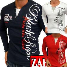 Herren Sweat-Shirt Langarm T-Shirt Longsleeve V-Neck Kragen 2in1 S M L XL NEU