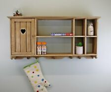 Wall Mounted Kitchen Wooden Storage Unit With Cupboard Rustic Spice Rack Shelves