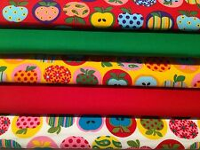 Fat Quarters Bundle Vivero & Niños artesanía de tejido EMPAVESADO Coser Rojo tarta de manzana