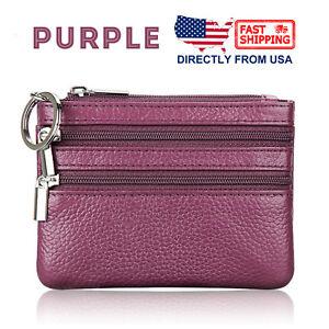 Women's Coin Purse Leather 3 Zipper Pockets Key Ring Mini Pouch Wallet