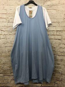 2-teilig Damen Kleid Tunika Lagenlook Übergröße 44 46 48 50 Lagenlook blau Neu
