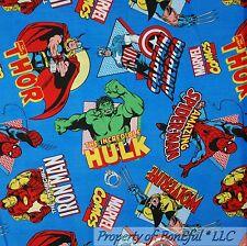BonEful FABRIC FQ Cotton VTG Super Hero Marvel Comic Ironman Spiderman Wolverine