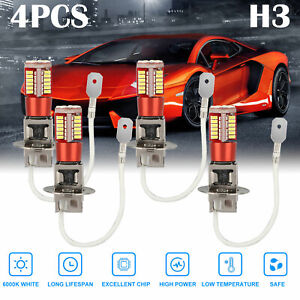 4x H3 Super Bright LED Fog Driving DRL Lights Bulbs Kit 6000K High Power White