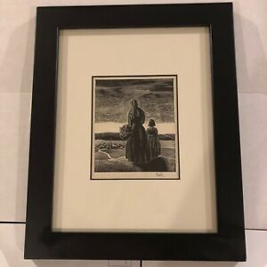 Latak Original Signed Etching of Woman and Child Overlooking Village Fine Art