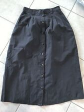 TravelSmith Button Front Maxi Skirt Petite 5 Black Pockets Poly/Nylon Pleats