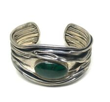 Estate Signed DDD Dominique Dinouart Malachite Cuff In Sterling Silver