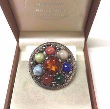 Vintage Signed Miracle Glass Agate Brooch / Pendant