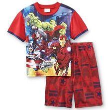 Avengers Assemble Red Pajamas Boy's 6/7 NeW Marvel Shirt Shorts Pjs Ironman Hulk