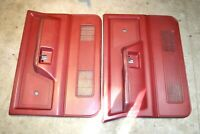 1981-1993 Dodge D100 Pickup RED Interior Door Trim Panels Left / Right Side OEM