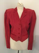 Vintage 80's Alicia Herrera For Oshwahkon Red Suede Leather Jacket Size 6 8