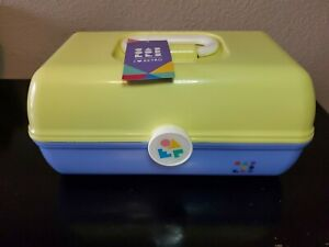 Caboodles Rare 2 Tone Yellow/ Lavender Classic Cosmetic Makeup Travel Case!