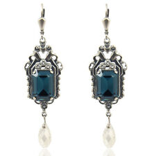 Jugendstil Ohrringe mit Kristalle von Swarovski® Silber Blau NOBEL SCHMUCK