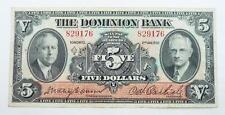 Canada 1935 The Dominion Bank $5 / Five Dollars Banknote