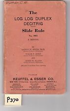 K&E Log-Log Duplex Slide Rule Manual, sliderule, VG condition, (P370)