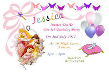 10 Personalised Disney Princess Party Invitations / Thank You Cards