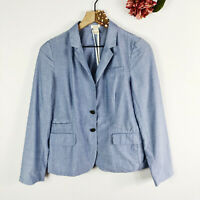 J. CREW Women's Schoolboy Jacket Blazer Casual Blue White Stripes Size 6