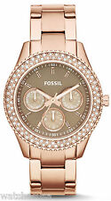 Fossil ES3502 Stella Brown Dial Rose Gold Stainless Multifunction Women's Watch