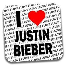 I Love Justin Bieber Drinks Coaster - Gift - Birthday - Stocking Filler