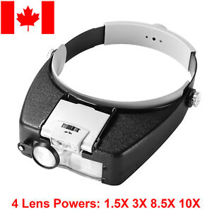 4-Lens Magnifier Magnifying Eye Glass Loupe Jeweler Watch Repair with LED Light