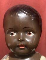Vintage Black African American AA Composition Boy Doll w/ Straw Stuffed Body