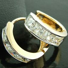 FS586 GENUINE 18K YELLOW G/F GOLD SOLID DIAMOND SIMULATED HUGGIE HOOP EARRINGS