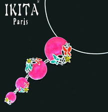 Luxus Statement Halskette IKITA Paris Kabel-Kette Anhänger Emaille Versilbert
